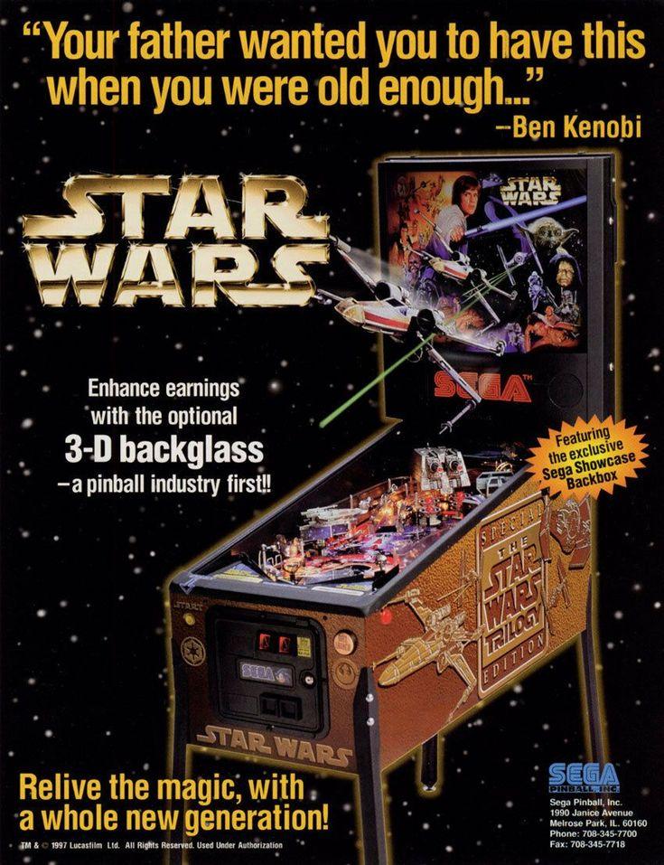 STAR WARS TRILOGY Pinball Machine Flyer Original NOS 1997