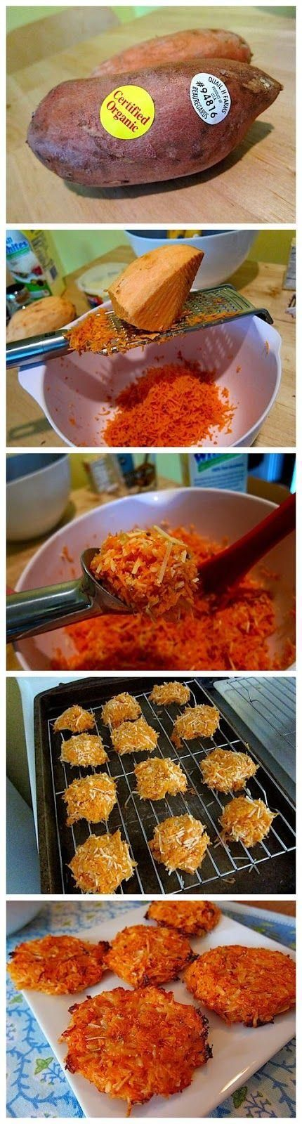 Cheesy Sweet Potato Crisps…like sweet potato hashbrowns - Love with recipe