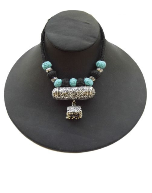 Threaded German Silver  Necklace with Taweez & Jhumki Pendant- Black&Turquoise