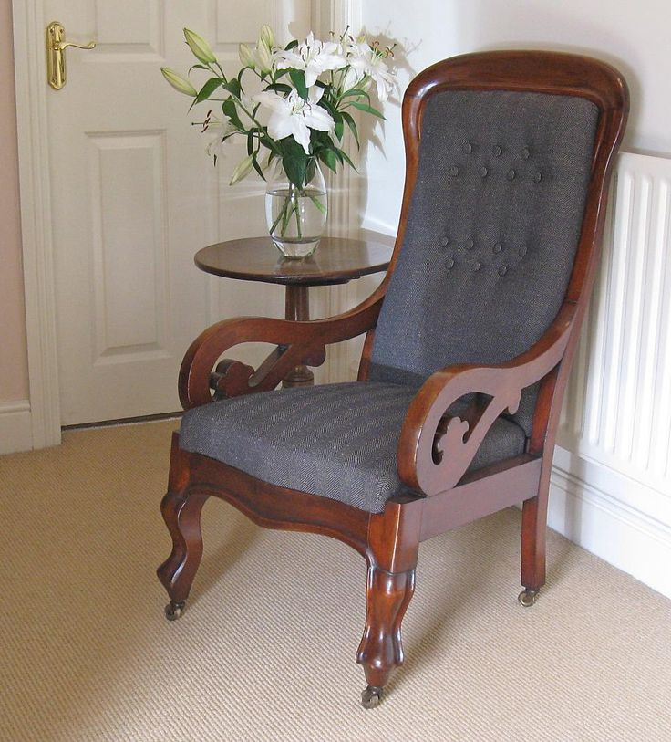 victorian mahogany resprung u0026 showframe armchair on original brass