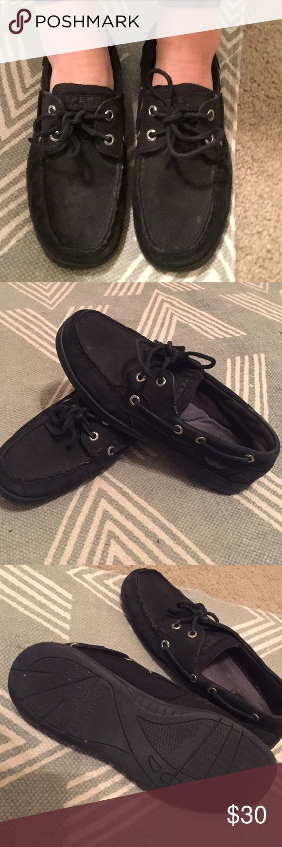 Black Sperrys Black suede Sperry's! Great condition. Women's size 7.5. Sperry Top-Sider Shoes