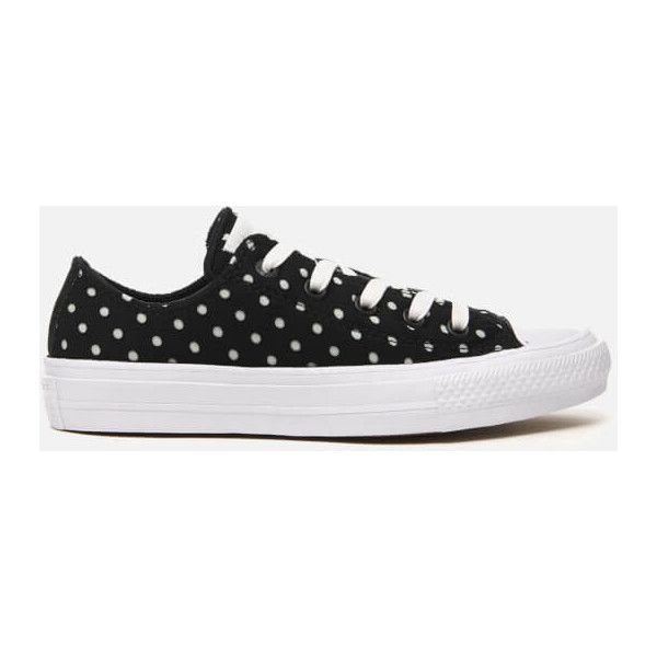 Converse Women's Chuck Taylor All Star II Ox Trainers ($47) ❤ liked on Polyvore featuring shoes, sneakers, black, black spot sneakers, converse shoes, black white shoes, white and black sneakers and breathable sneakers