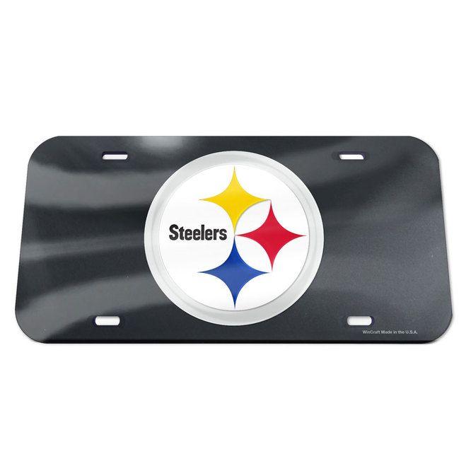 Pittsburgh Steelers License Plate - Crystal Mirror - Logo - Black