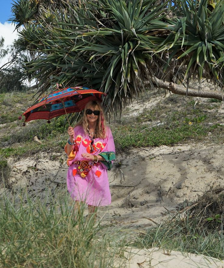 Sometimes all a lady needs is a Parasol & a Pandanus Tree to be happy. Discover your happy at www.paulropp.com #gipsysoul #bohochic