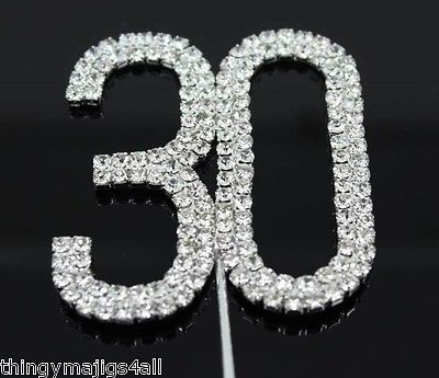 30 th birthday #diamante cake #topper decoration 30th #silver number anniversary,  View more on the LINK: 	http://www.zeppy.io/product/gb/2/262246759581/