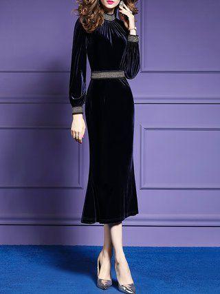 1d847b3f326 Turtle Neck Mermaid Daytime Elegant Long Sleeve Beaded Solid Midi Dress