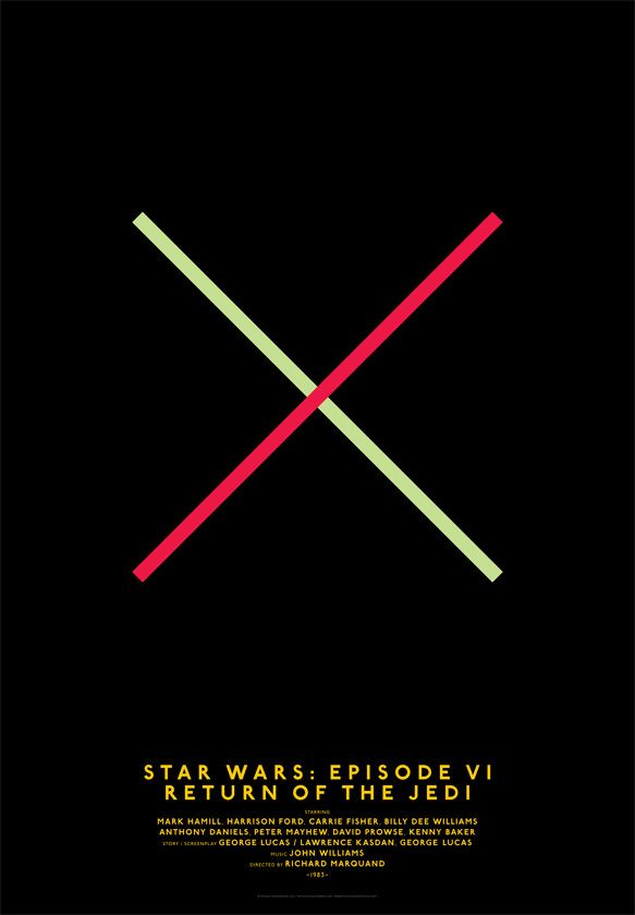 Michal Krasnopolski, Star Wars: episode VI. Return of the Jedi, Grid Movie Posters. Return of the Jedi: These two crossed lines reflect the lightsabre battles of the Star Wars film