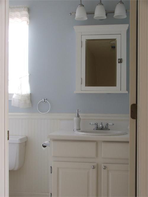 blue white beadboard bathroom