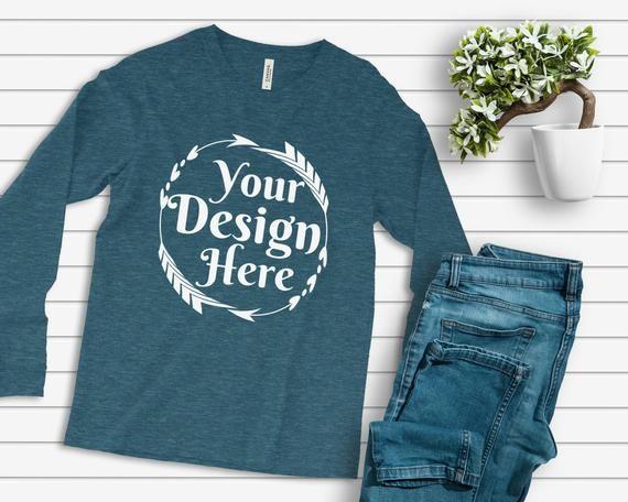 Download Bella Canvas 3501 Long Sleeve Heather Deep Teal Unisex Tshirt Etsy Flat Lay Outfit Shirt Mockup Unisex Tshirt
