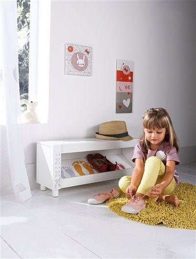 Mueble zapatero infantil VERDE MEDIO LISO CON MOTIVOS+BLANCO CLARO LISO CON MOTIVOS