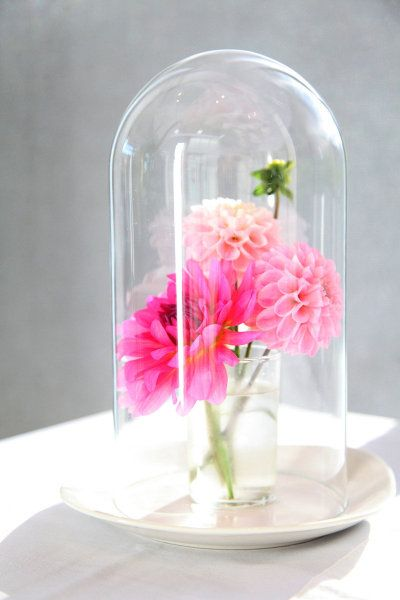 pink cloche centerpiece