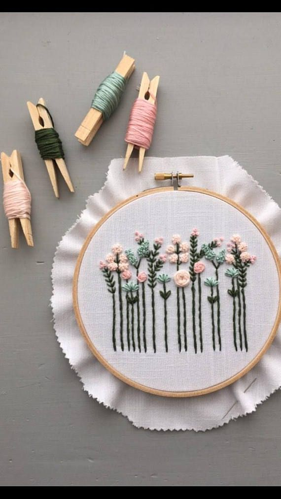 This listing is for a complete floral embroidery kit that includes: « Pre-print…