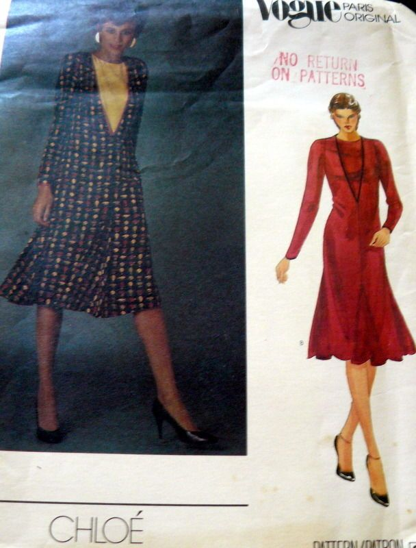 LOVELY VTG 1970s DRESS VOGUE PARIS CHLOE Sewing Pattern 12/34