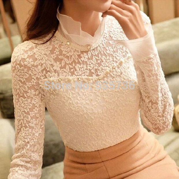 2015 New Ruffled Collar Long Sleeve Blouses Shirts with Beaded  Plus Size Lace Women Blouse Women Clothing Blusas Femininas 59A0
