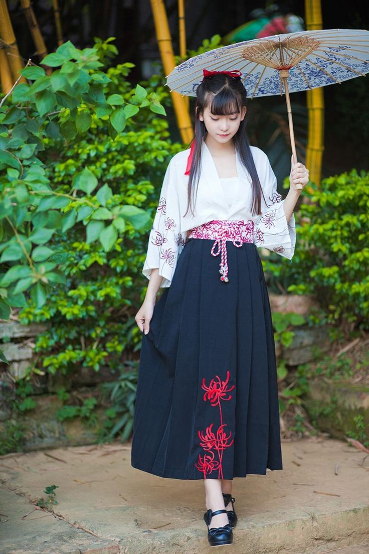 Vintage Japanese Yukata 2pcs Set Embroidery Bana Rose Outwear Tops+ Long dress…