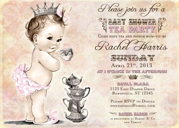 tea party baby shower invitation for girl princess crown pink diy printable