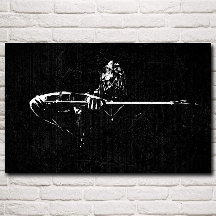 Dishonored Black White Corvo Skull Game Art Silk Poster Home Wall Decoration Painting 12x19 15x24 19x30 22x35 Inch Free Shipping #Affiliate