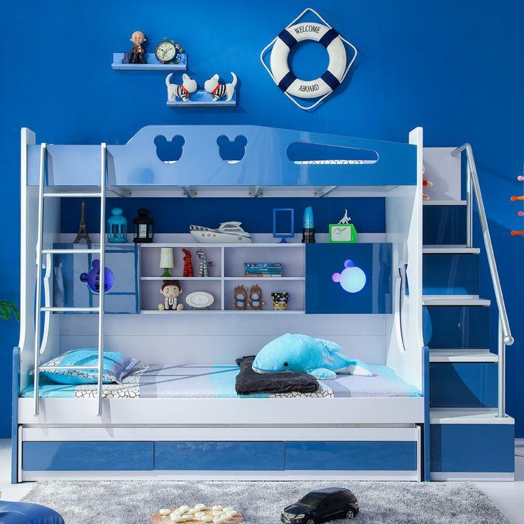 Темно-синяя кровать с двумя ярусами и полками для игрушек с лестницей наверх, с выдвижными ящиками купить в интернет-магазине https://lafred.ru/catalog/catalog/detail/44477028749/