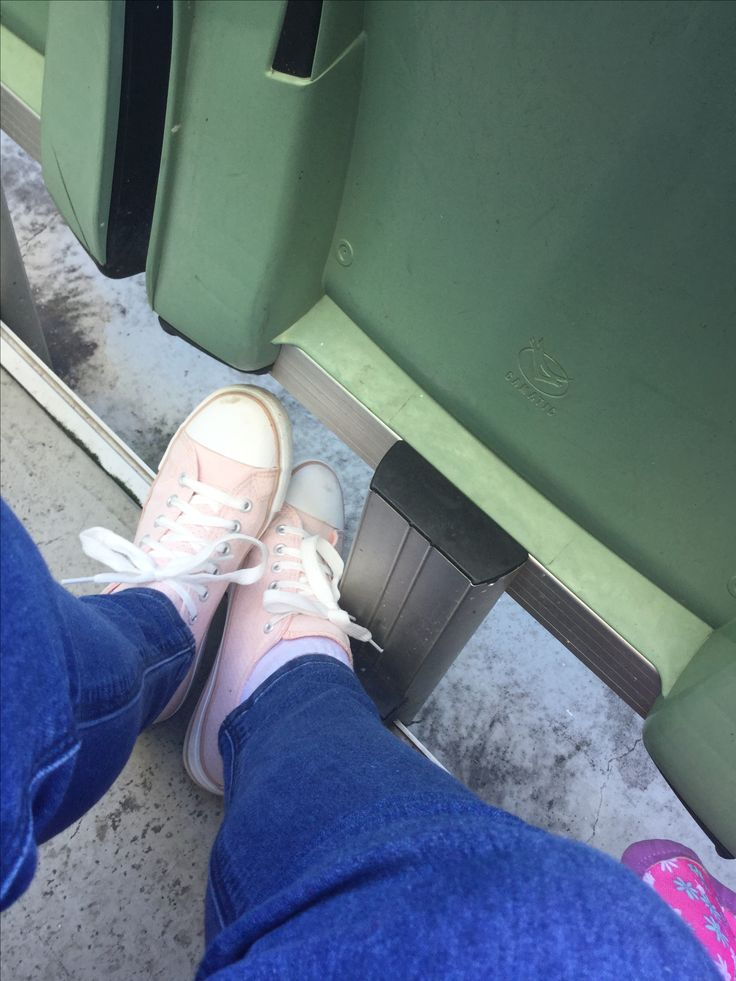 Cute Pastel Pink Shoes and Navy Jeans at a Baseball game!