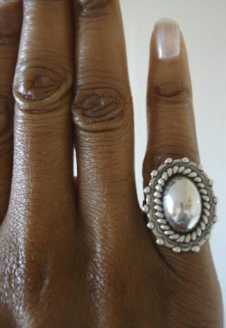 Vintage 60s Sterling Silver Aztec Navajo Dome Ring