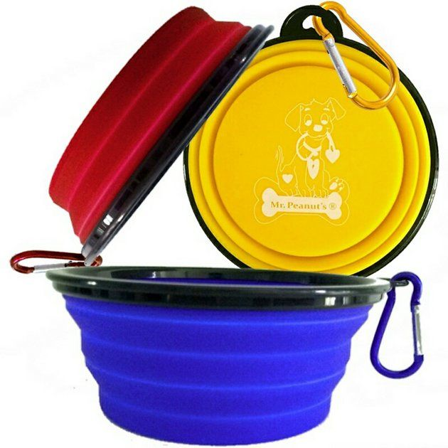 Mr. Peanut's Premium Collapsible Dog Bowls make traveling simple. These collapsible, lightweight pet bowls are perfect for everything from overnight camping to a trip to the local dog park. And they're made with premium quality, food-grade silicone for exceptional durability. Just pack them in your suitcase or glove compartment, and you and your pet can be on your way—you can even use a D-ring to attach it to your backpack or dog leash. It's easily cleaned with a quick trip through the di...