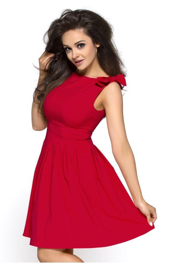 Rozkloszowana sukienka z kokardami na wesele KM112 , Sukienki - Kartes-Moda