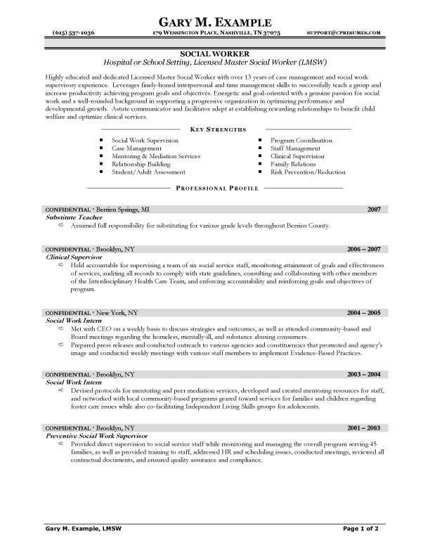 Free Social Work Resume Templates Freeresumetemplates Resume