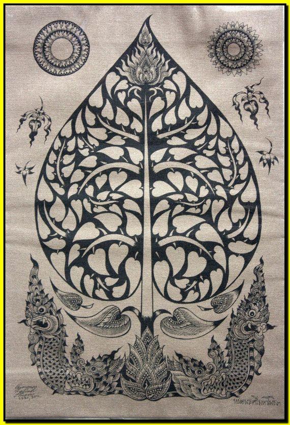 Thai traditional art of Bodhi Tree by silkscreen printing on cotton via Etsy