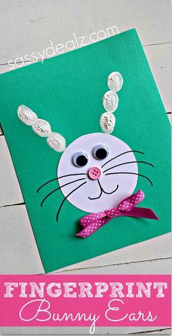 Make Bunny Ears using Kid's Fingerprints #Easter craft for Kids (So easy!) | CraftyMorning.com