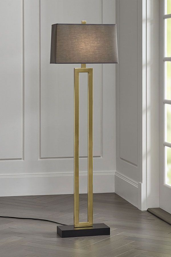 Duncan Brass Floor Lamp With Grey Shade A Smoky Grey Shade Adds