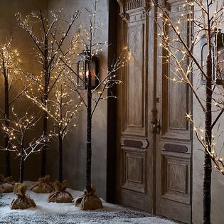 Mini light trees   Light the entry with these Winter Wonderland trees from Restoration Hardware