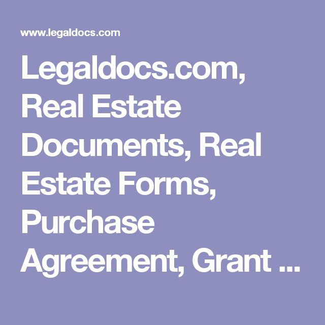 LegaldocsCom Real Estate Documents Real Estate Forms Purchase