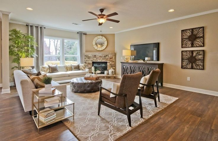 Transitional Living Room With Metal Fireplace Flush Light Ceiling Fan Credenza By Coast To