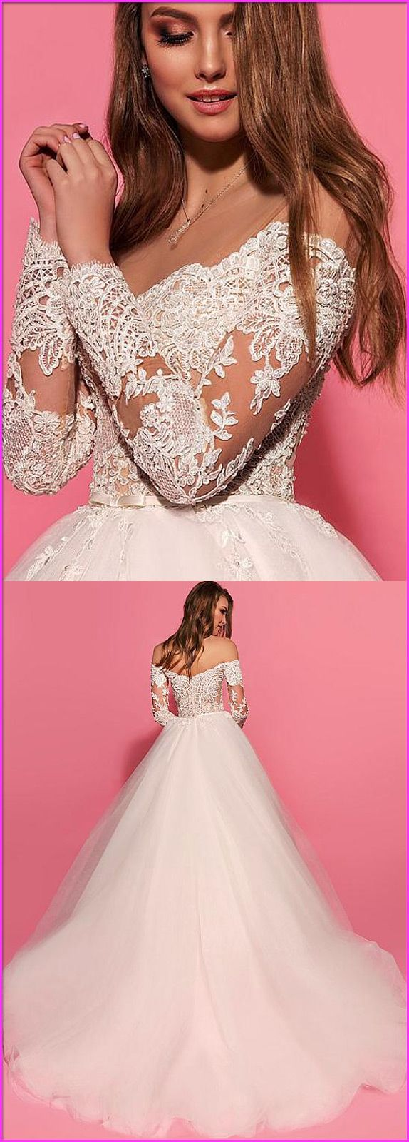Fantastic Tulle & Satin Bateau Neckline See-through A-Line Wedding Dresses With Beaded Lace Appliques