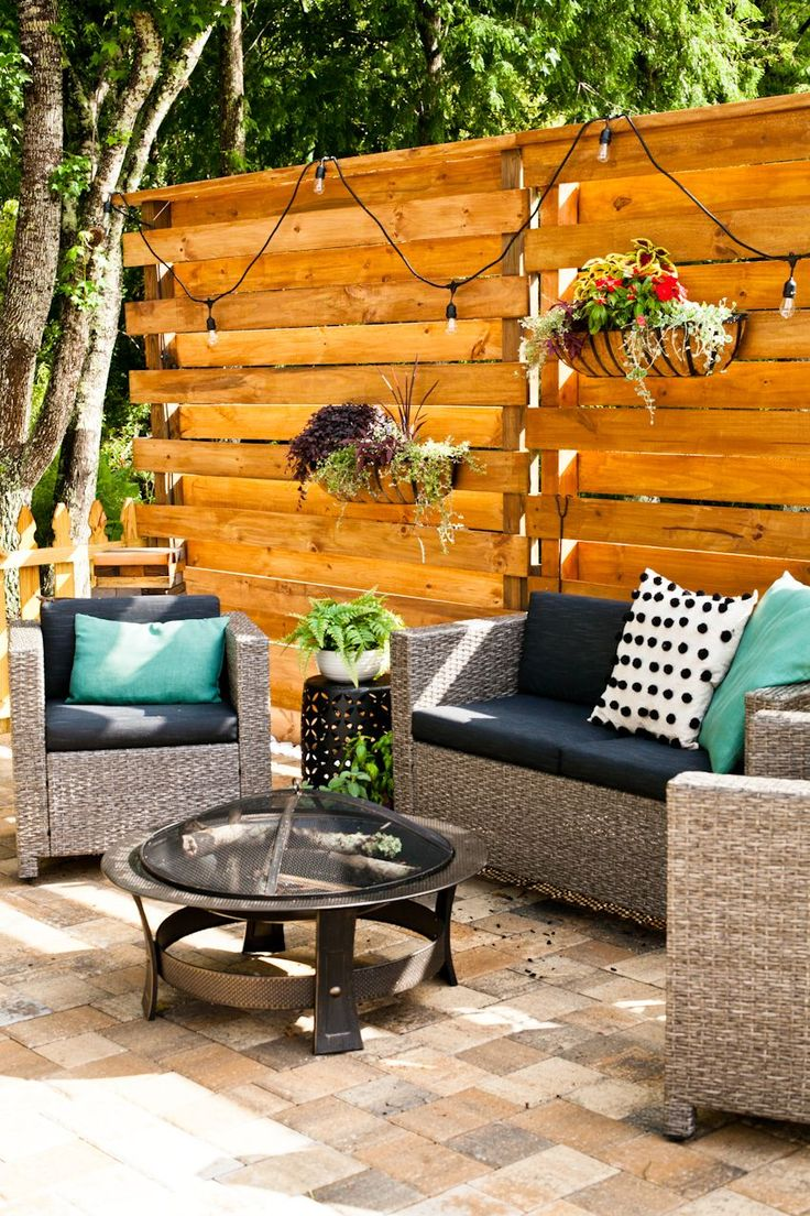 Diy horizontal slat fence and backyard makeover create a
