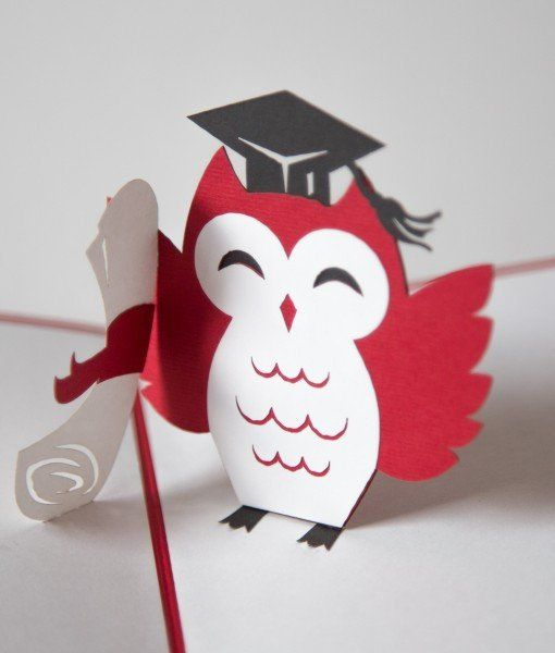 "This red pop up card proclaims ""Congrats!"" on the cover. Upon opening the recipient is sure to smile when the graduation owl pops up out of the card with it's diploma in hand. Check out the owl's cap!"