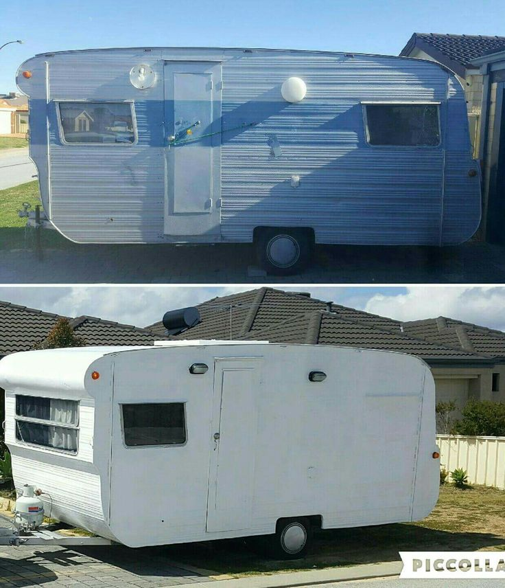 Start to finish on the outside including new lights. All work done in this makeover was done by myself and all with a small budget all up costing $1900 which includes the licensed caravan.