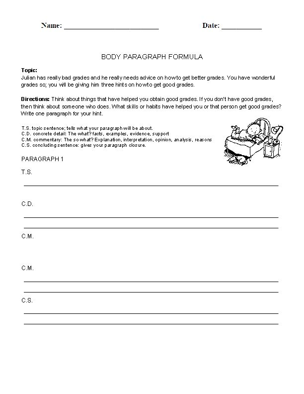 body paragraphs worksheet writing prompt essay The body paragraphs will explain your essay's topic if your main idea is reduces freeway congestion, you might say this: public transportation reduces freeway congestion next, write down each of your supporting points for that main idea, but leave four or five lines in between each point.