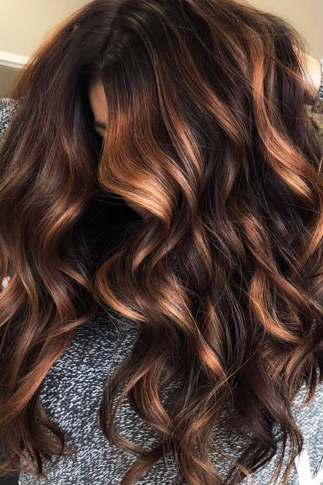Copper Highlights On Dark Brown Curly Hair Google Search Hair Brown Hair With Highlights And Lowlights Caramel Highlights On Dark Hair