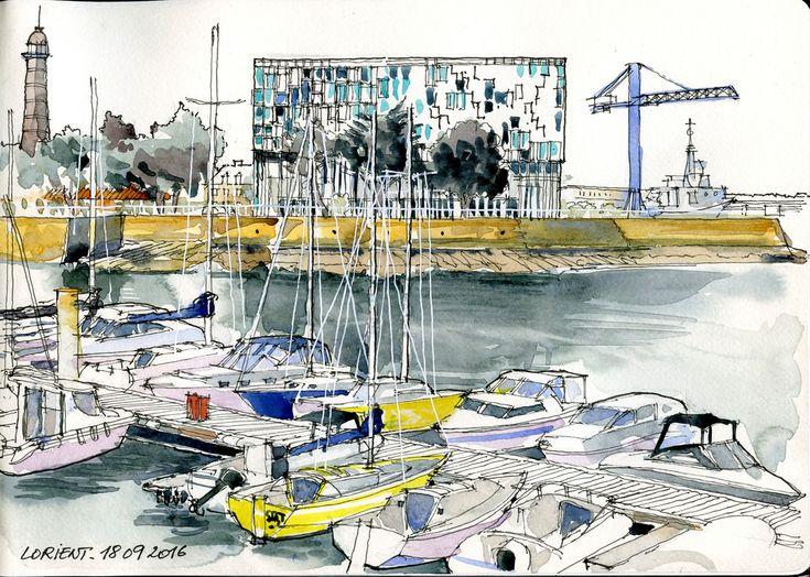 Lorient - Avant-port - 15 09 2016 Moleskine, Watercolor art and