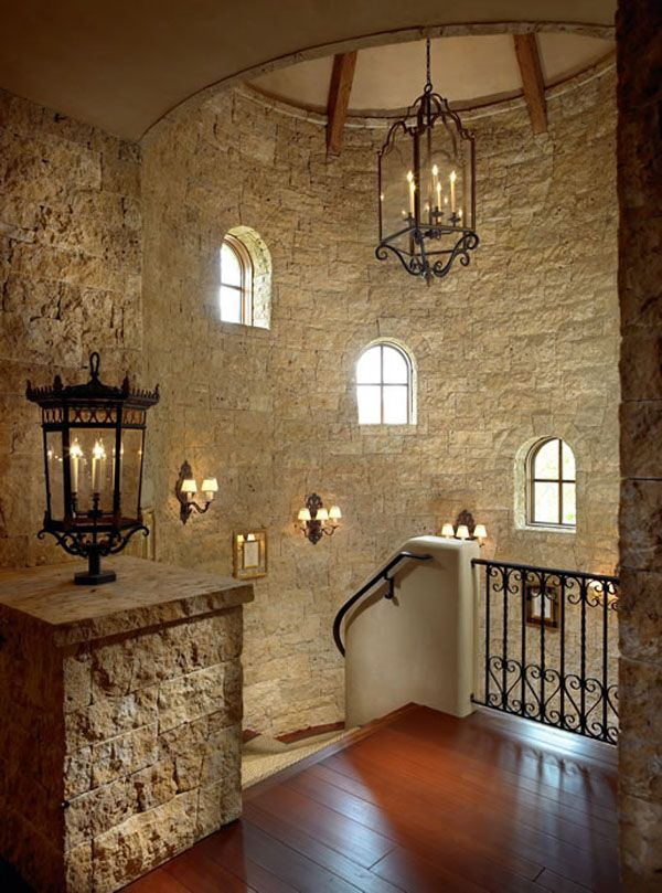 Very cool turret staircase: Lights Fixtures, Stairs, Stones Wall, Interiors, Beautiful Tuscan Inspiration, Dreams House, Castles, Homes, Aspen