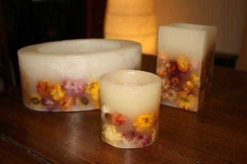 Candele fai da te decorate con fiori - Fotogallery Donnaclick