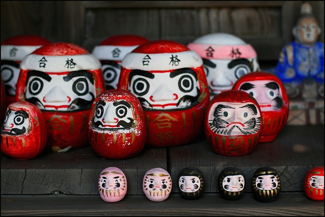 Daruma: make a wish and when you get your wish, your Daruma gets an eye. Make another wish so he can get the other eye.