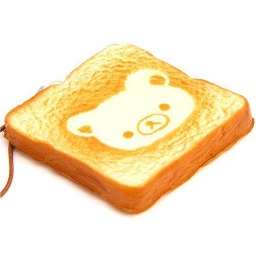 Rilakkuma bear toast bread squishy cellphone charm