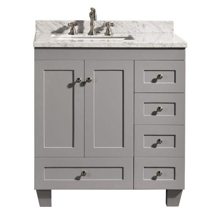 Accanto contemporary 30 inch grey finish bathroom vanity