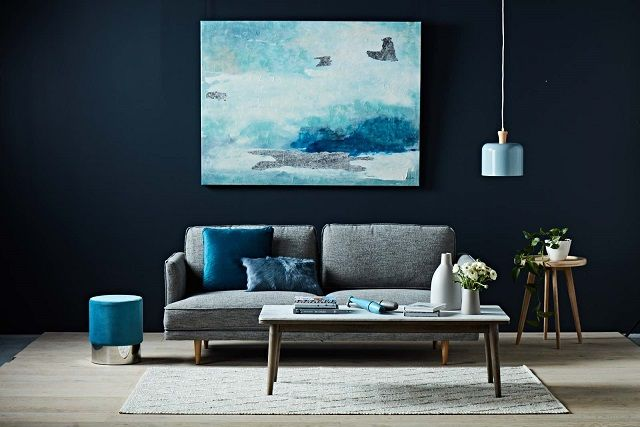 Start with your accent colour, add a mid century sofa, a simple coffee and side table, then finish it off with texture using a rug, cushions and art. The end result is truly blue-tiful!