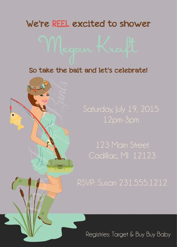 Neutral Gender Baby Shower Invitation  Fishing by FabPartyPrints