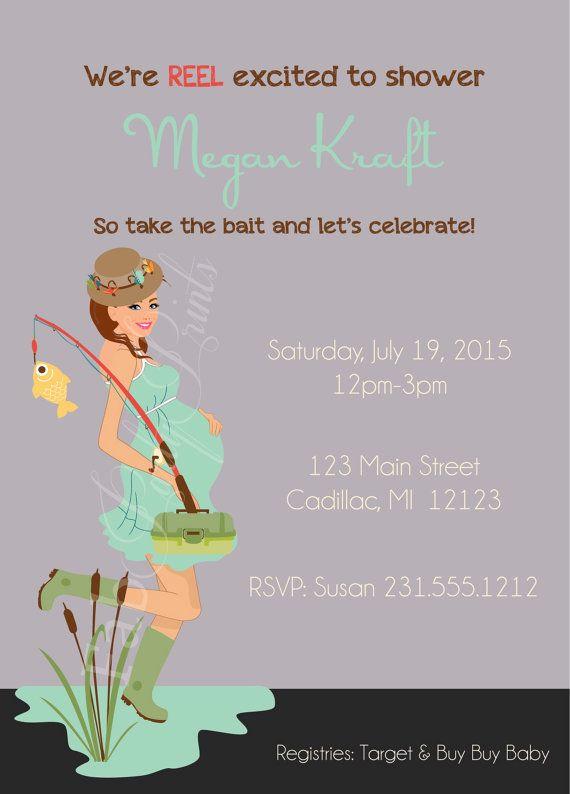 Neutrale geslacht Baby douche uitnodiging • visserij Baby Shower Uitnodiging • thema Baby uitnodiging voor jongen of meisje