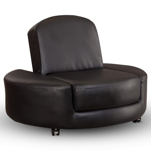 Find it at the Foundary - Berkeley Ottoman Chair - Black...the top folds down into a regular ottoman...a neat game room chair