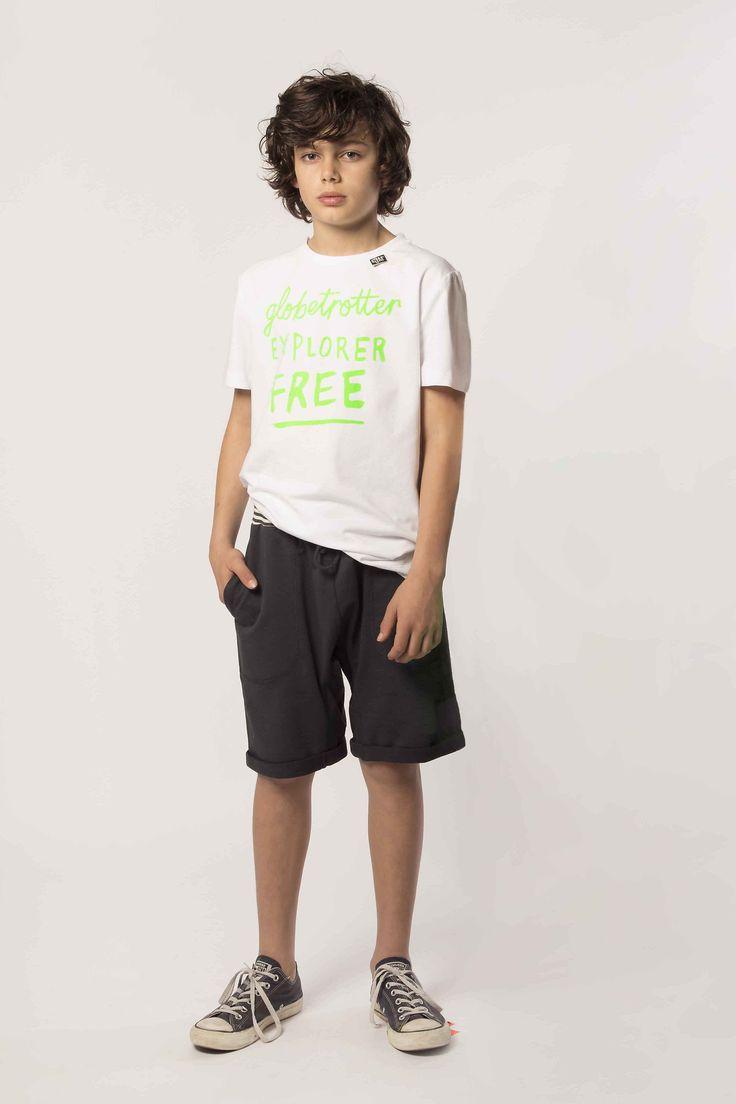 Cover Outfit: T-Shirt - Signature: Pure White Short - Rib Waist: Indigo